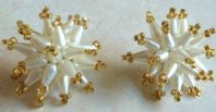 Vintage Atomic Snowflake Pearl And Amber Earrings.